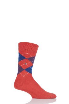 Mens 1 Pair Burlington Preston Extra Soft Feeling Argyle Socks Orange / Purple 40-46