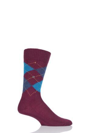 Mens 1 Pair Burlington Preston Extra Soft Feeling Argyle Socks Deep Red 40-46