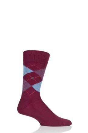 Mens 1 Pair Burlington Preston Extra Soft Feeling Argyle Socks Deep Red 6.5-11 Mens