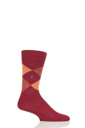 Mens 1 Pair Burlington Preston Extra Soft Feeling Argyle Socks Red / Orange 6.5-11 Mens