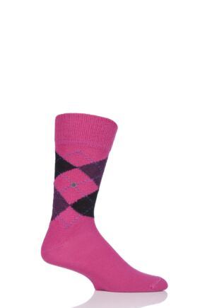 Mens 1 Pair Burlington Preston Extra Soft Feeling Argyle Socks Pink (2) 40-46