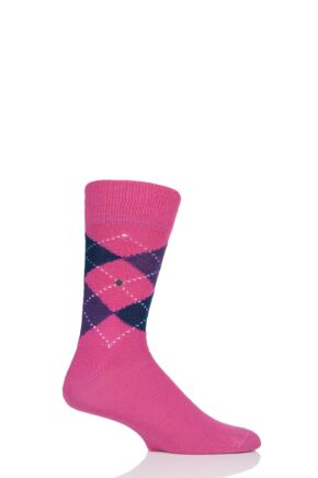 Mens 1 Pair Burlington Preston Extra Soft Feeling Argyle Socks Hot Pink 6.5-11 Mens