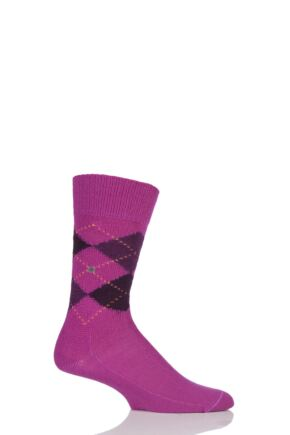 Mens 1 Pair Burlington Preston Extra Soft Feeling Argyle Socks Bright Pink 40-46