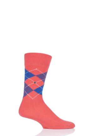 Mens 1 Pair Burlington Preston Extra Soft Feeling Argyle Socks Orange / Blue 40-46