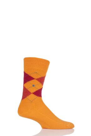 Mens 1 Pair Burlington Preston Extra Soft Feeling Argyle Socks Orange 40-46