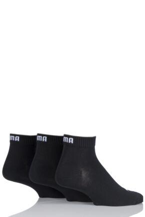 Mens and Ladies 3 Pair Puma Training Quarter Socks Black 12-14
