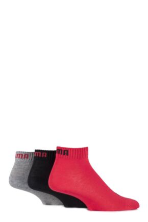 Mens and Ladies 3 Pair Puma Training Quarter Socks Black / Red / Grey 6-8