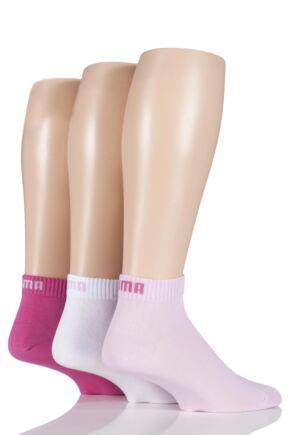 Mens and Ladies 3 Pair Puma Training Quarter Socks Pink 6-8