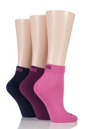 Mens and Ladies 3 Pair Puma Training Quarter Socks Dark Purple Combo 6-8
