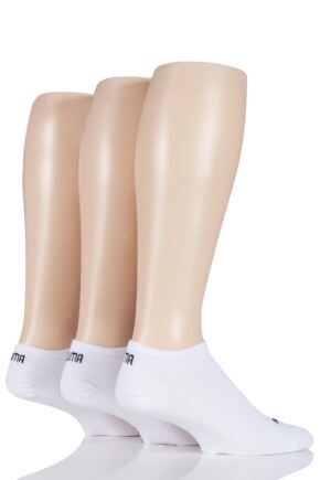 Mens and Ladies 3 Pair Puma Invisible Sneaker Socks White 6-8