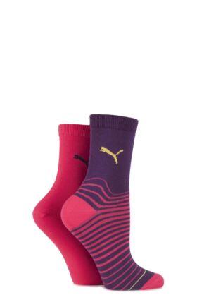 Ladies 2 Pair Puma Fractured Striped Cotton Socks Italian Plum / Azalea 6-8
