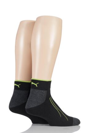 Mens and Ladies 2 Pair Puma Performance All Sport Quarter Socks with Coolmax Black 9-11 Unisex