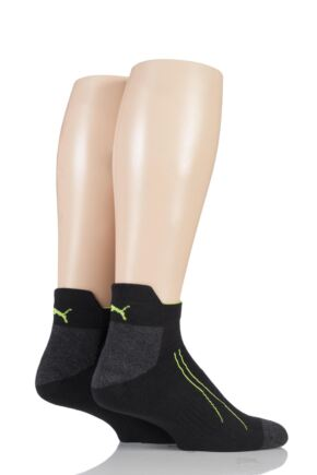 Mens and Ladies 2 Pair Puma Performance All Sport Sneaker Socks with Coolmax Black 9-11 Unisex
