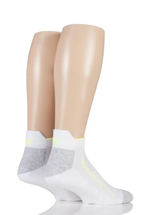 Mens and Ladies 2 Pair Puma Performance All Sport Sneaker Socks with Coolmax White 6-8 Unisex