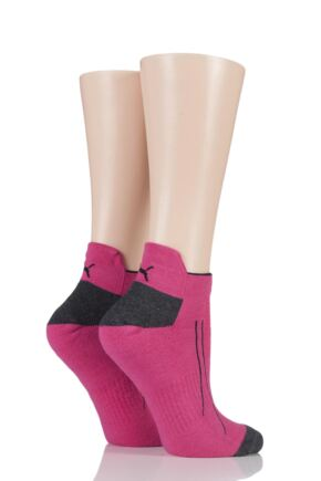 Mens and Ladies 2 Pair Puma Performance All Sport Sneaker Socks with Coolmax Neon Pink 2.5-5 Unisex