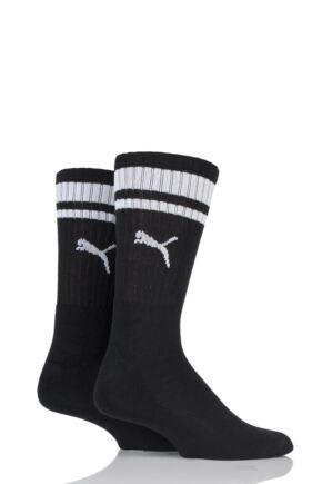 Mens and Ladies 2 Pair Puma Heritage Stripe Cushioned Crew Socks