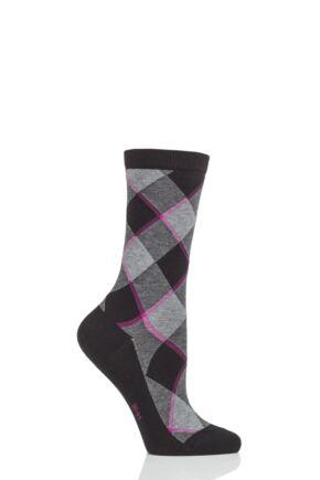 Ladies 1 Pair Burlington Westminster Diamond Argyle Cotton Socks