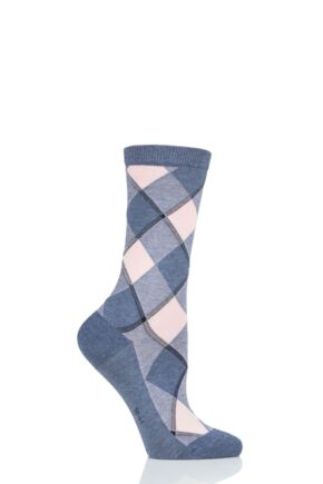 Ladies 1 Pair Burlington Westminster Diamond Argyle Cotton Socks