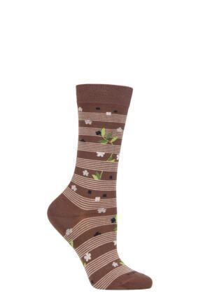 Ladies 1 Pair Burlington Flower Stripe Organic Cotton Socks