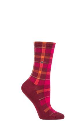Ladies 1 Pair Burlington Modular Check Tartan Cotton Socks