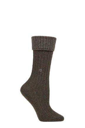 Ladies 1 Pair Burlington Cosy Wool Turn Over Top Boot Socks Green 3.5-7 Ladies