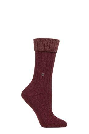 Ladies 1 Pair Burlington Cosy Wool Turn Over Top Boot Socks Red 3.5-7 Ladies