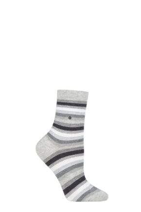 Ladies 1 Pair Burlington Stripe Cotton Socks
