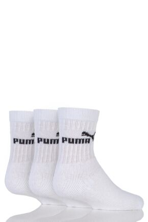 Kids 3 Pair Puma Plain Crew Sports Socks White 2.5-5