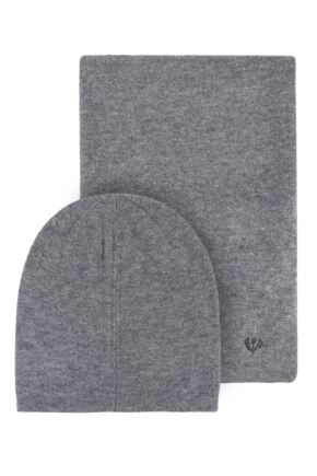 Mens Fraas Wool and Cashmere Blend Plain Hat and Scarf Set