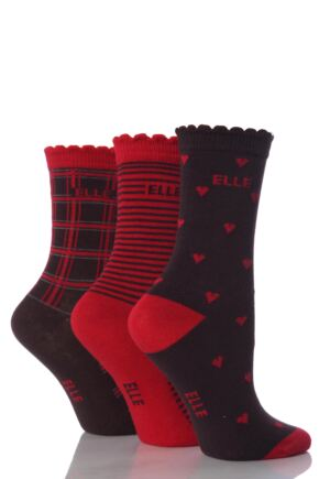 Girls 3 Pair Young Elle Retro Heart, Check and Stripe Socks 50% OFF Retro 6-8