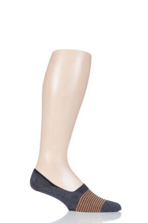 Mens 1 Pair Pantherella Sienna Striped Egyptian Cotton Footlet Socks Dark Grey Mix 7.5-9.5 Mens