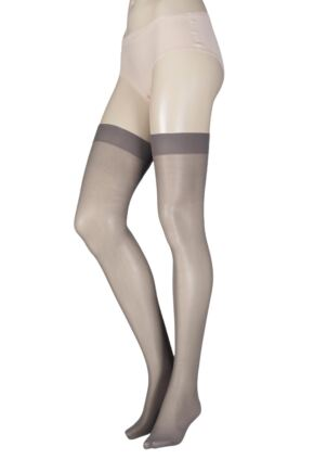 Ladies 1 Pair Elle Stockings 30 Denier 100% Nylon Mid Grey