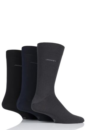 Mens 3 Pair Jockey Plain Business Cotton Socks