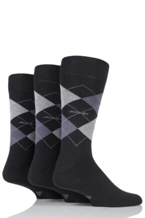 Mens 3 Pair Jockey Casual Argyle Cotton Socks
