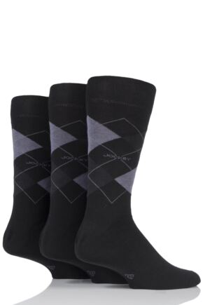 Mens 3 Pair Jockey Casual Argyle Cotton Socks