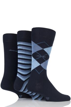Mens 3 Pair Jockey Casual Stripe Argyle and Plain Cotton Socks