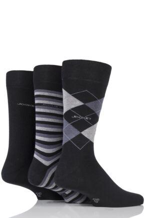 Mens 3 Pair Jockey Casual Stripe Argyle and Plain Cotton Socks
