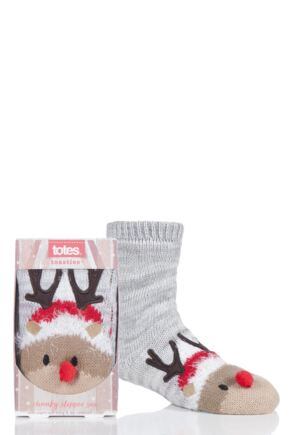 Boys and Girls 1 Pair Totes Chunky Christmas Novelty Slipper Socks Reindeer 7-10 Years