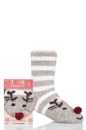 Boys and Girls 1 Pair Totes Chunky Christmas Novelty Slipper Socks Rudolph 3-6 Years