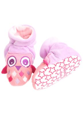 Girls 1 Pair Totes Tots Owl Slippers with Grip Pink 12-18