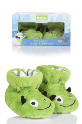 Boys 1 Pair Totes Animal Padders Slipper Socks Monsters 18-24 Months
