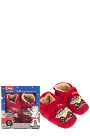 Boys 1 Pair Totes Tots Truck Slippers with Grip Red 12-18 Months