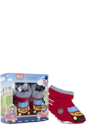 Baby Boys 1 Pair Totes Novelty Slippers with Grip Fire Engine 12-18