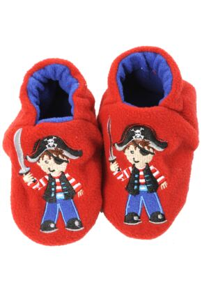 Boys 1 Pair Totes Tots Pirate Slippers With Grip 50% OFF Red Pirate 6-12 Months
