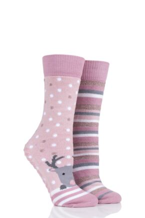Ladies 2 Pair Totes Original Novelty Slipper Socks with Grip