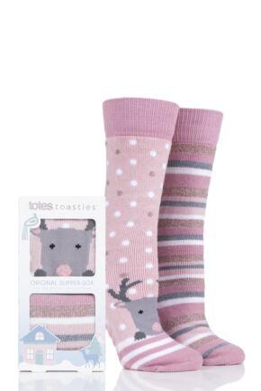 Ladies 2 Pair Totes Original Novelty Slipper Socks with Grip