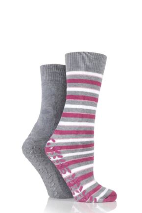 Ladies 2 Pair Totes Original Twin Pack Stripe and Plain Slipper Socks Grey