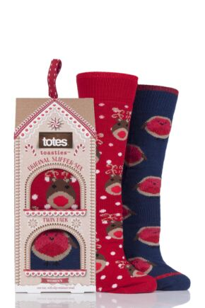 Ladies 2 Pair Totes Original Christmas Novelty Slipper Socks with Grip