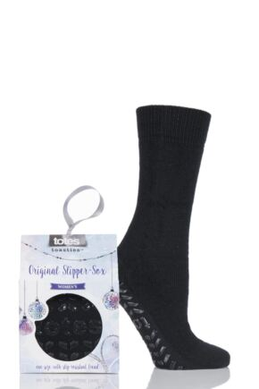 Ladies 1 Pair Totes Originals Slipper Socks Black