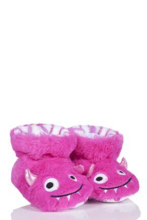 Girls 1 Pair Totes Animal Padders Slipper Socks Monsters 6-12 Months
